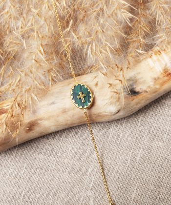 R0198 Bracelet Pernelle Acier Or Vert