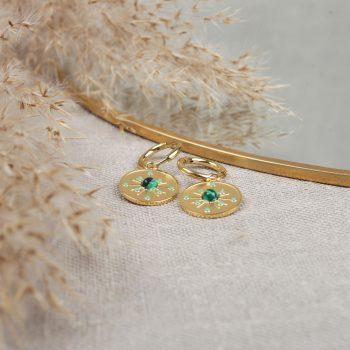 R0239 Boucle Oreille Lelie Acier Or Vert