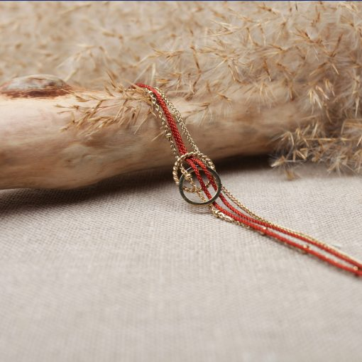 R0248 Bracelet Victoire Acier Or Bordeau