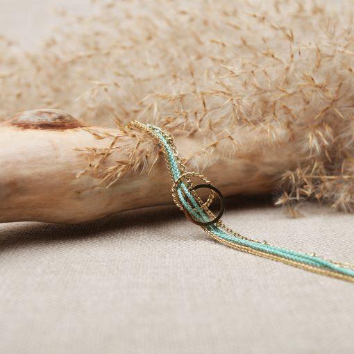 R0248 Bracelet Victoire Acier Or Vert Deau