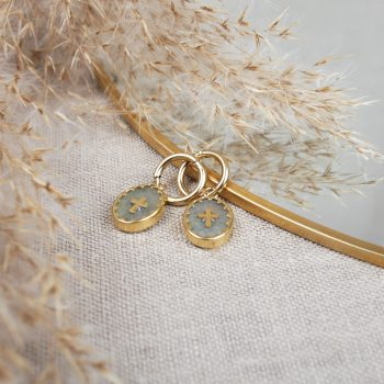 R0252 Boucle Oreille Pernelle Acier Or Gris