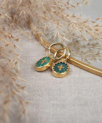 R0252 Boucle Oreille Pernelle Acier Or Vert